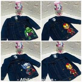 Jaket anak superhero led bahan jeans