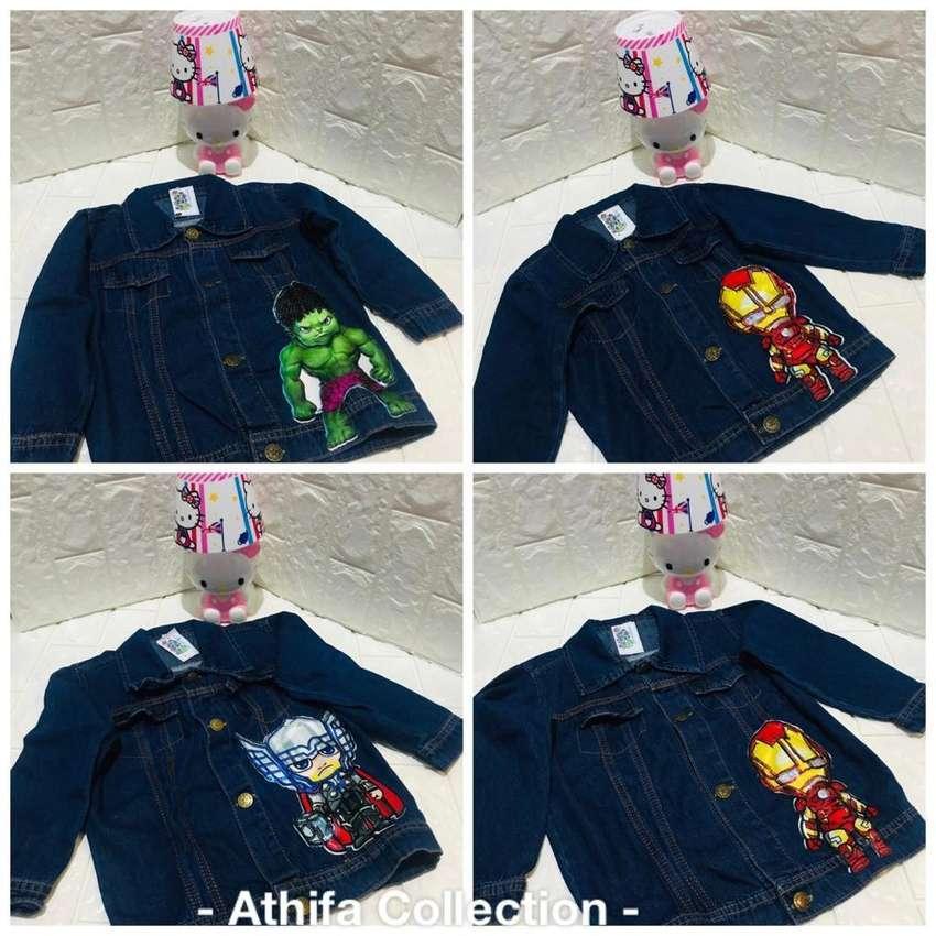 Jaket anak superhero led bahan jeans 0