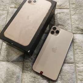 Iphone 11 Pro Max 256GB Gold Lengkap original . Mulus yaa
