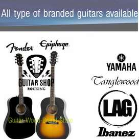 Epiphone, Fender, Yamaha, Ibanez all brands guitars available