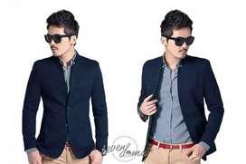 Jas Pria Cowok Skinny Navy Blue Mandarin Collar Edition - Sevendomu