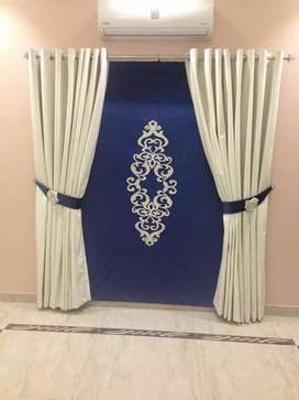 Motif  blind with plain velvet curtain
