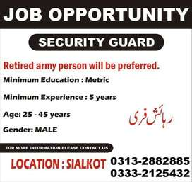 Security Gaurd For Factory In Sialkot City