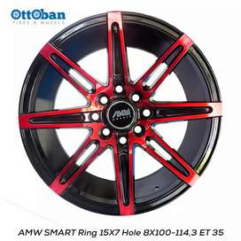 Jual velg amw smart R15x7 H8x100-114.3 Et35.buat mobil avanza,xenia.