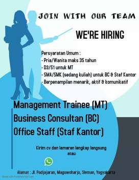 Dibutuhkan staff kantor parttime/fulltime