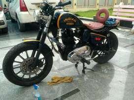 Modified Royal Enfield costomised in to Indian scout bobber.