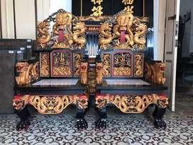 Dijual Sepasang Kursi Raja Motif Naga Bola Api Marmer Putih Jati Tua