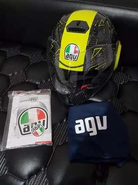 Helm AGV Fluid Ibiscus Gunmetal Yellow Double Visor 46 Valentino Rossi