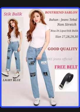 Celana jeans wanita printing sablon