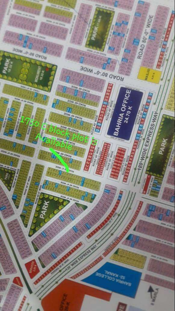 1750/LOC-C Block Plot Is Available For Sale in bahria orchard,LHR 0