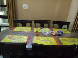 Wooden Dining Table with six chairs in excellent condition