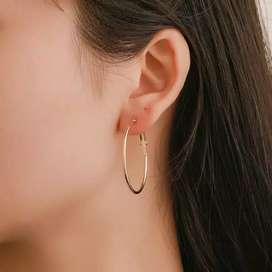 Anting wanita Lingkaran Gold tusuk Perhiasan Imitasi