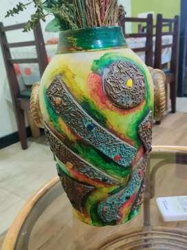 Hand made designer clay pot