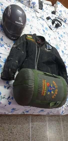 Rynox Riding Jacket, Sleeping Bag and Helmet