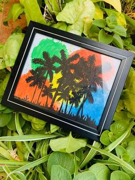 Silhoutte painting with glass frame for sale!