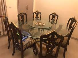 8 Seater Glass Revolving Round Dining Table