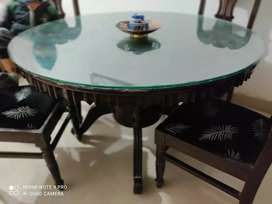 Seasem Wood 4 seater round dining table with glass top and four chairs