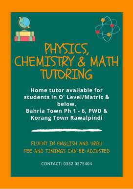 Home tutor available in Bahria Town 1 - 6, PWD and Korang Town