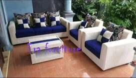 Erafurniture-sofa minimalis biru-cream 311 set +MEJA