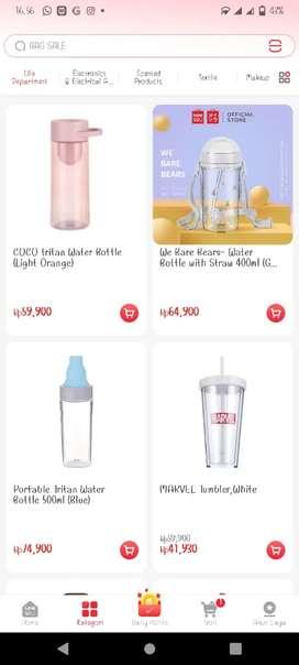 Botol air dan gelas miniso