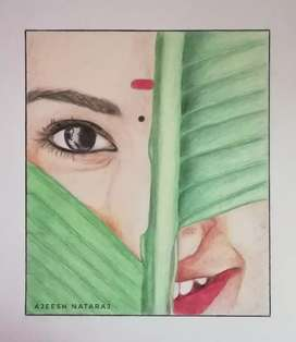 Leaf with girl..color drawing home wall pic