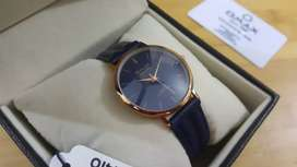 Omax New Arrival 7491 Rose Gold Blue Strap Slim Watch