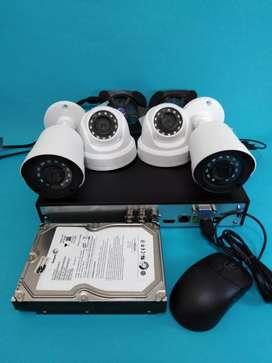 Paket pemasangan 4 titik Camera CCTV 2 MP, Free kabel 80 m, Hdd 500 Gb