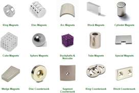 Magnets of different shapes and sizes