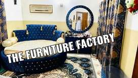 Round bed set dressing side table with mirror
