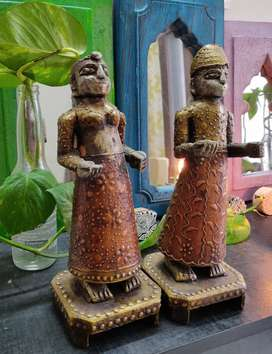 Beautiful Handcrafted pair of Wooden figurines