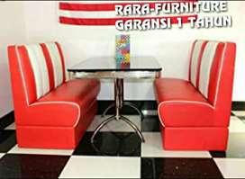 Sofa CAFE new cream-merah minimalis kulit oscar super.