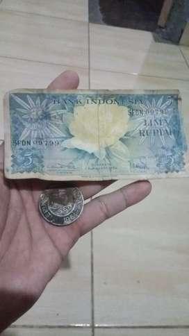 Uang logam 50 sen tahun 1961,uang kertas 5 rupiah tahun 1959