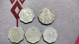 Antique 10 Paise Old Coins - Rare collection of 5 coins