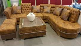 0% EMI Bajaj finance L sofa with center table and puffies