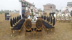 s.s chairs acrylic chairs and Rod iron chairs are available for rent