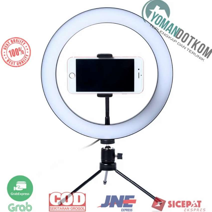 RL-128 Lampu Halo Ring Light LED Selfie 120 LED 10 Inch + Holder HP 0