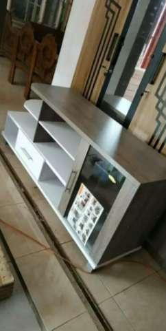 meja tv minimalis putih abu panjang 150 cm siap pasang di tempat