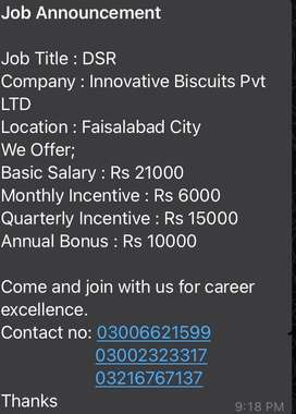 Order taker required for innovative biscuits