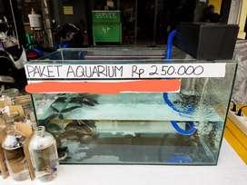 Paket Aquarium Ikan Louhan Murah 60*30*35 cm Filter Pakan Ikan Garam