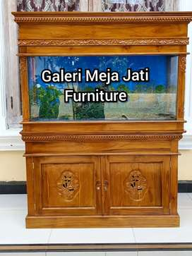 Meja Aquarium kabinet bahan kayu jati D257 talk natural