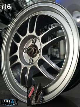 pelek mobil velg racing terbaru ring 16 pcd 4 warna hyper silver r16