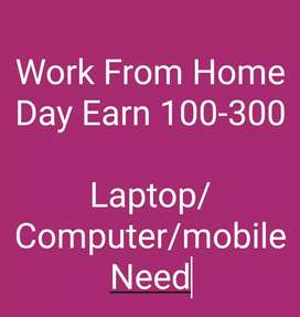 Laptop/Computer/mobile Compalsury Dayli 100-300 Earning Work.