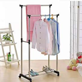 Adjustable Portable Double Pole Coat Clothes Garment Hanging Rack Roll