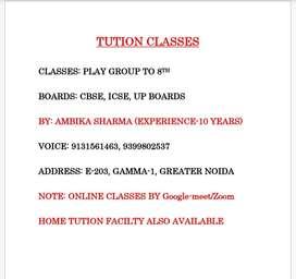 Online/ offline classes, upto 8