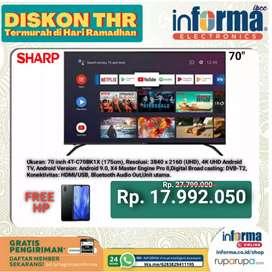 """SHARP ANDROID LED 4K TV 70"""" PROMO HARGA 17JTan FREE HP SEHARGA 12 JT"""