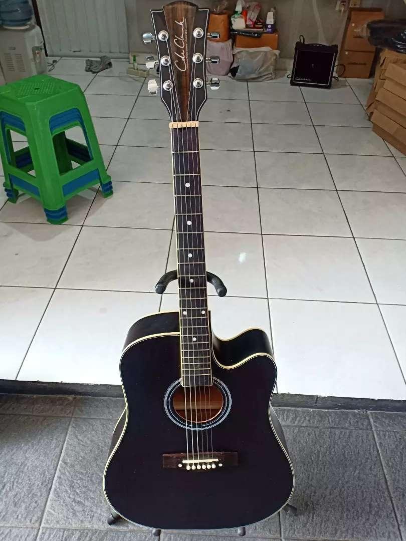 Gitar Akustik papan Rosewood hitam 0