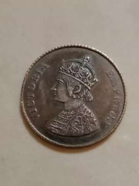 Indian one rupee coin on 1901