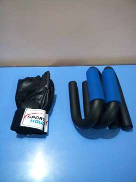Push-up bars and gym gloves for workout