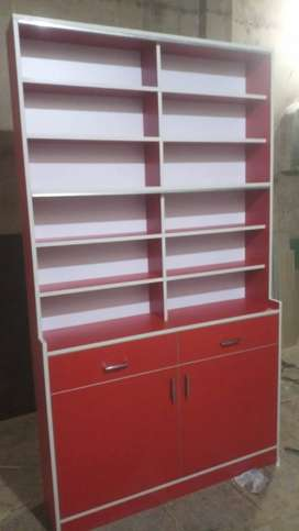 Red And White Wooden Cabinet