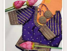 Saree with blouse stitches